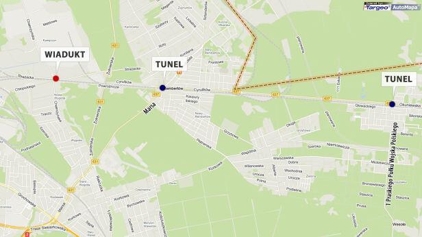 Planowane tunele i wiadukt targeo