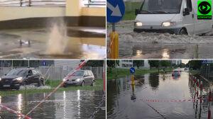 Ulice pod wodą, gejzer na parkingu w galerii