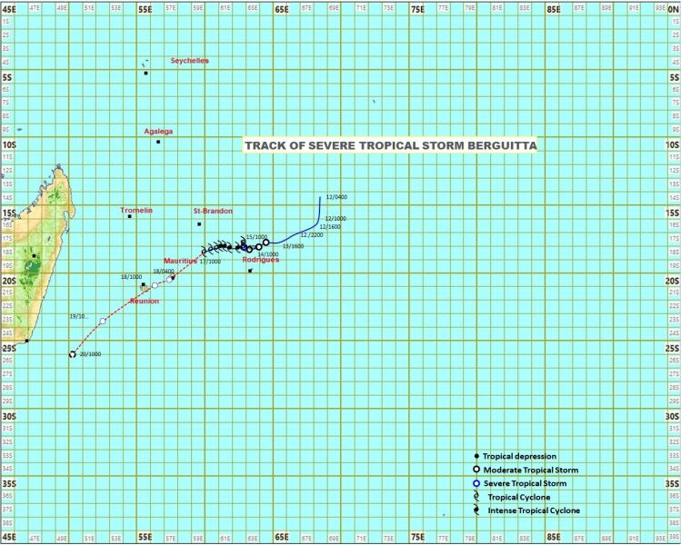 Prognozowana trasa cyklonu Berguitta (Mauritius Meteorological Services)