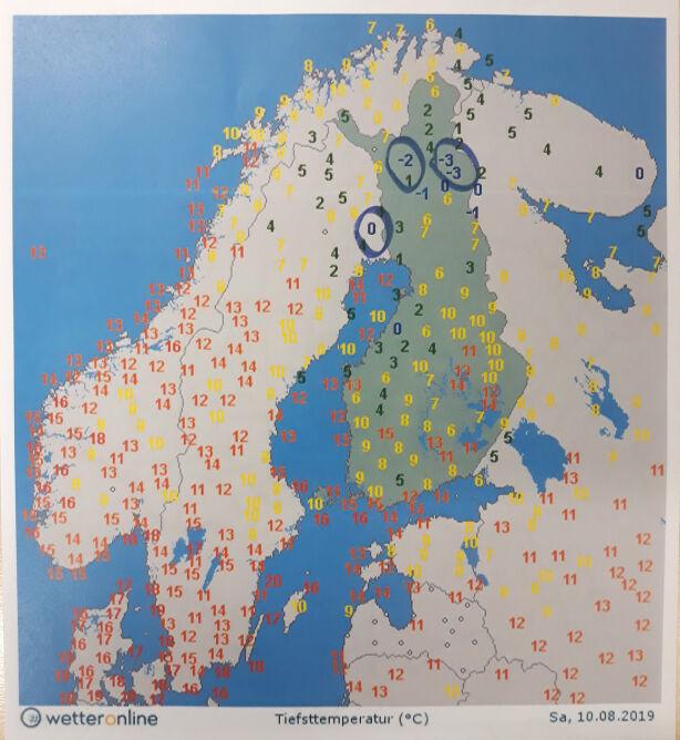 Temperatura w Skandynawii w sobotę rano
