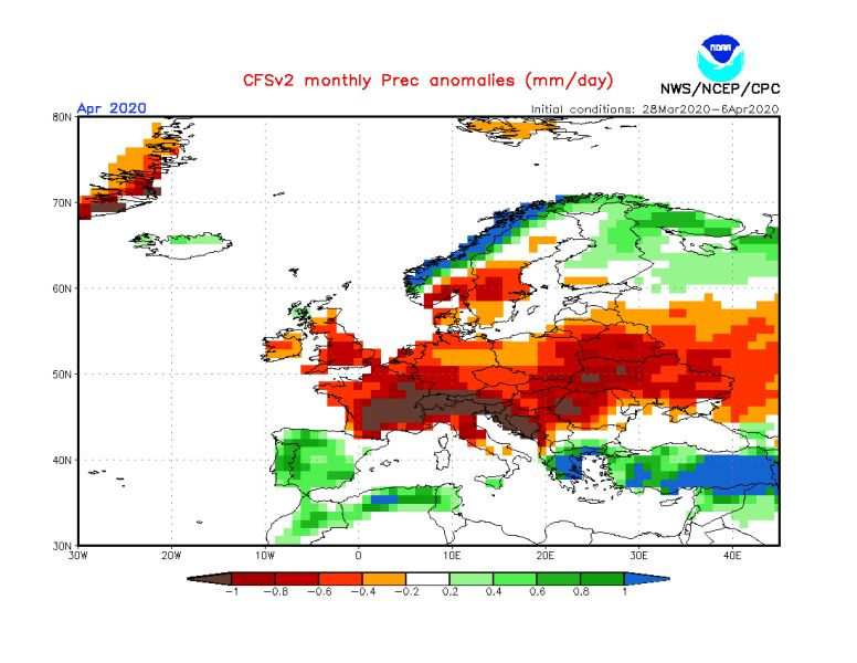 Prognozowane odchylenie miesięcznej sumy opadów w kwietniu 2020 od normy wieloletniej (CFS/NOAA)