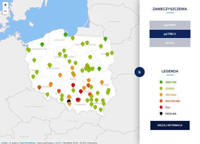 Stężenie pyłu PM2,5 o godzinie 8 (tvnmeteo.pl za GIOŚ)
