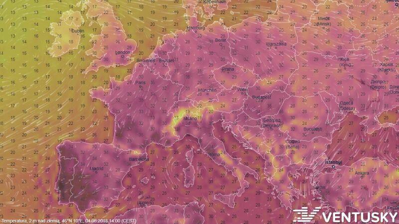 Temperatura w sobotę o godzinie 12 czasu uniwersalnego (ventusky.com)